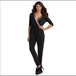 Kardashian kollection black sequin v neck jumpsuit